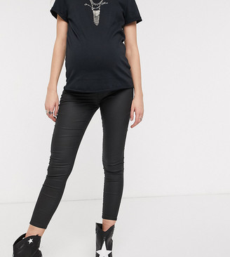 Topshop Maternity Joni overbump skinny jeans in coated black