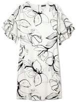Vince Camuto Bloom-print Ruffle-sleeve Dress