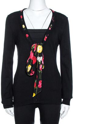 Dolce & Gabbana Black Knit Tulip Print Tie Neck Cardigan L
