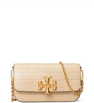 Tory Burch Eleanor Crocodile-Embossed Phone Crossbody Bag