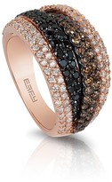 Effy Jewelry Effy 14K Rose Gold Black, Cognac and White Diamond Ring, 2.05 TCW