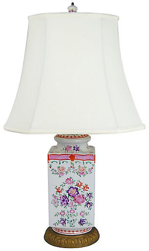One Kings Lane Vintage Famille Rose Porcelain Lamp - Acquisitions Gallerie