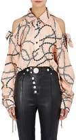 Alexander Wang Women's Barbed-Wire-Print Silk Crop Blouse