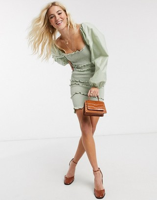 Topshop shirred long sleeve mini dress in sage green