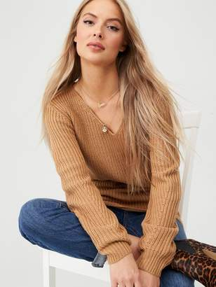 Very V Neck Engineered Rib Slouch Longline Jumper - Camel
