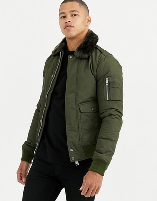 Schott Air insulated bomber jacket slim fit with detachable faux fur collar in khaki green