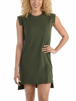 Seek No Further Women's Pleated Capped Sleeve Ponte Shift Dress