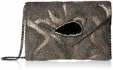 Mary Frances Earth Energy Pewter Beaded Embroidered Crossbody Clutch