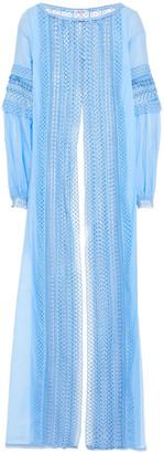 Charo Ruiz Ibiza Indira Crocheted Lace-paneled Cotton-blend Voile Robe