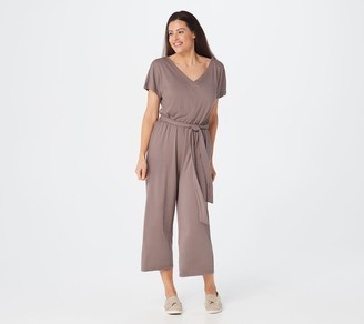 AnyBody Petite Textured Knit Tie Front Jumpsuit
