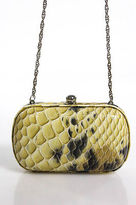 Sondra Roberts Yellow Black Faux Snakeskin Embossed Round Small Clasp Clutch