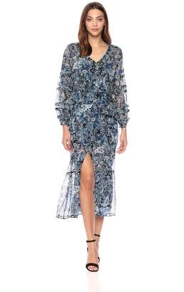 The Kooples Women's Women's Blue Paisley Long Silk Dress 1