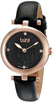Burgi Women's BUR128BKR Diamond Accented Flower Dial Rose Gold & Black Leather Strap Watch