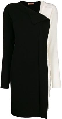 Twin-Set two tone asymmetric neckline dress