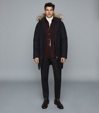Reiss Pacific - Faux Fur Hooded Parka Coat in Navy