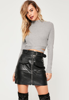 Missguided Grey Tie Waist Basic Cropped Sweater