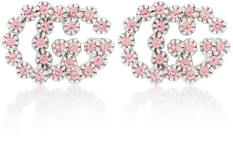 Gucci GG Running white 18kt white-gold earrings with topaz and diamonds