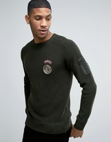 Jack and Jones Originals Ribber Sweater With Military Patches