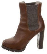 Brunello Cucinelli Leather Round-Toe Ankle Boots