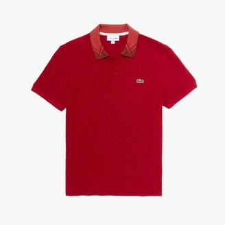 Lacoste Men's Regular Fit Jacquard-Collar Cotton Pique Polo Shirt