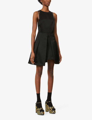 Sandro Florence embellished-trim satin mini dress