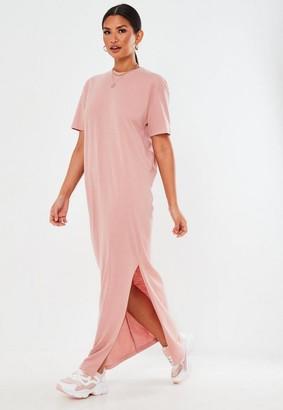 Missguided Pink Basic T Shirt Maxi Dress