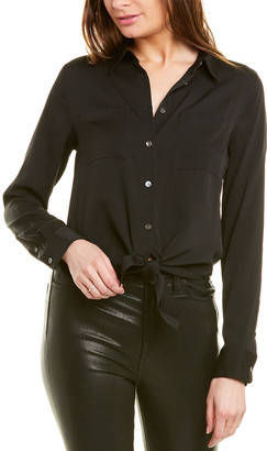 Theory Tie-Front Silk-Blend Blouse
