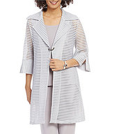 IC Collection Striped Sheer 3/4 Sleeve Duster
