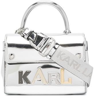 Karl Lagerfeld Paris Metallic-Print Logo-Plaque Tote Bag