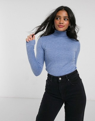 Brave Soul tato soft blend roll neck sweater in blue