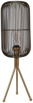 "Sagebrook Home Metal 27"" Oval Shaped Grid Lamp, Gold"