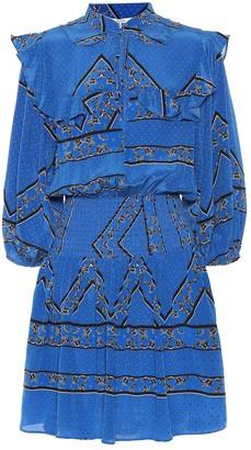 Ganni Sandwashed silk smocked minidress