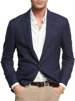 Brunello Cucinelli Check-Print Traditional Jacket, Blue/Barley