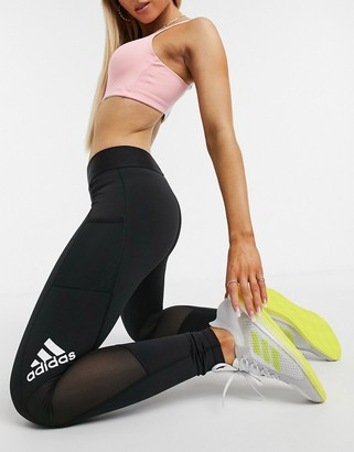 adidas Training alphaskin leggings with side logo in dark grey