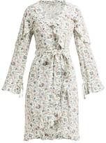 D'Ascoli Abigail Floral-print Ruffle-trim Silk Dress - Womens - Blue Print