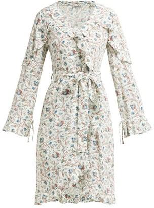 D'Ascoli Abigail Floral-print Ruffle-trim Silk Dress - Blue Print