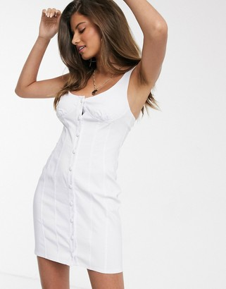 ASOS DESIGN button through cupped mini sundress in white