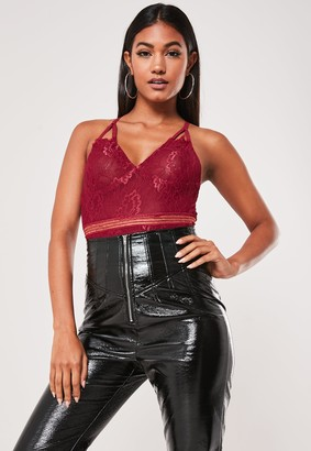 Missguided Petite Burgundy Sports Tape Lace Bodysuit