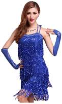 Pilot-trade clothing trade co. Pilot-trade Lady's Latin Party Tassel Sequins Fringe Flapper Dress Nightclub Clubwear