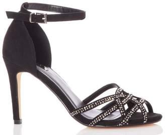 Quiz Black Faux Suede Diamante Detail Heel Sandals