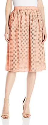 Lark & Ro Amazon Brand Women's Eyelet Midi Skirt