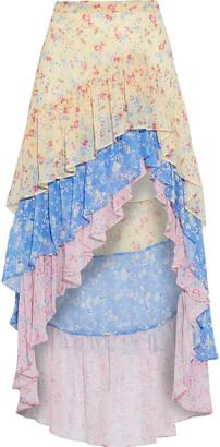LoveShackFancy Lisette Asymmetric Tiered Floral-print Silk-georgette Skirt
