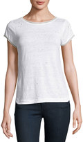 MLV Distressed Tee with Beaded Trim, White