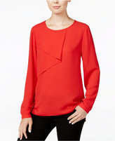 Bar III Long-Sleeve Overlay Top, Only at Macy's