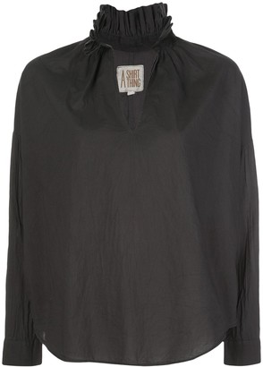 A Shirt Thing Ruffled Neck Long Sleeve Shirt