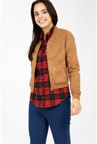 Select Fashion Fashion Womens Brown Suedette Bomber Jacket - size 10