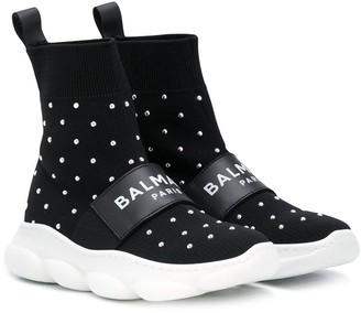 Balmain Kids Knitted High-Top Sneakers
