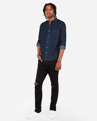 Express Slim Denim Band Collar Pocket Shirt