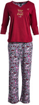 Rene Rofe Women's Sleep Bottoms CONVEROTHR - Red & Blue 'Wine A Little Laugh A Lot' Pajama Set - Women