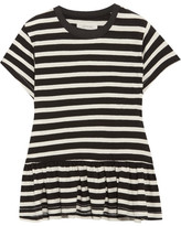 The Great The Ruffle Striped Cotton-jersey T-shirt - Black